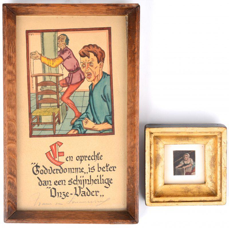 """-""""Een godverdomme...."""". Ingekleurde prent door Frans Van Immerseel.-""""De Wasvrouw"""". Miniatuurtje."""