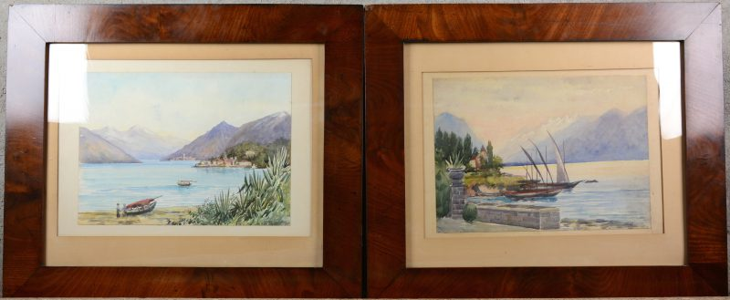 """""""Italiaans bergmeer"""". Twee aquarellen op papier. Gesigneerd. In mahoniehouten kaders."""