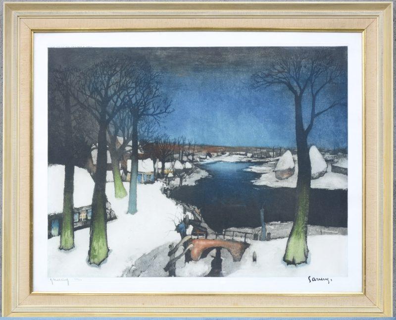 """""""Winterlandschap aan de Leie"""". Kleurenlitho door Hebbelinck. Genummerd 326/350 buiten de plaat."""