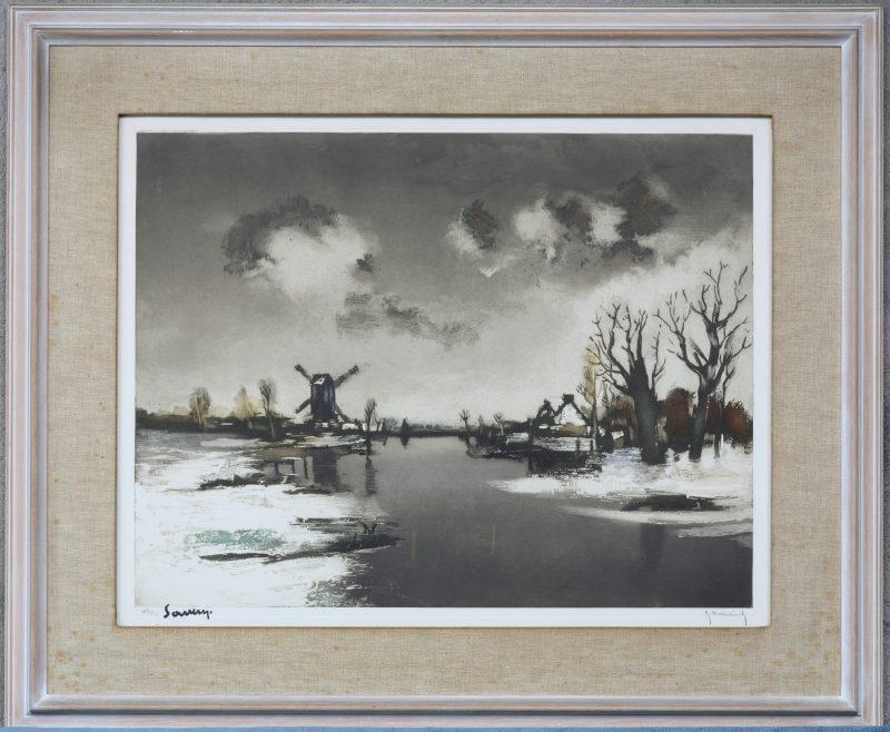 """""""Winterlandschap met molen aan de Leie"""". Kleurenlitho. Gesigneerd Hebbelinck. 182/350 genummerd buiten de plaat."""