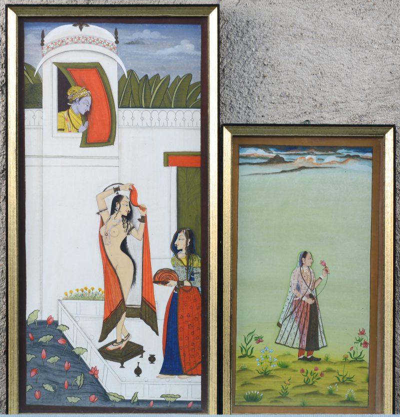 Twee Indische gouaches met personages.
