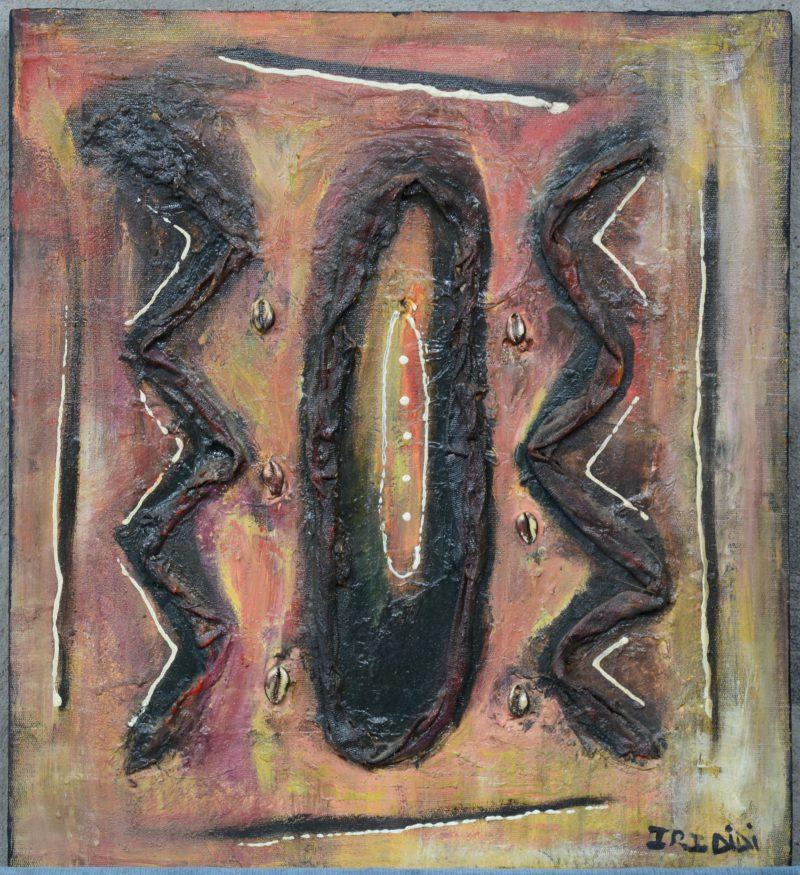 """""""Abstracte Afrikaanse compositie"""". Gemengde techniek op doek. Gesigneerd."""