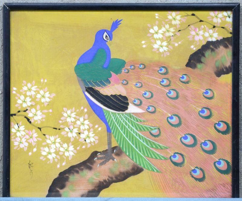 """""""Pauw op een tak"""". Een tekening op zijde. Chines werk."""