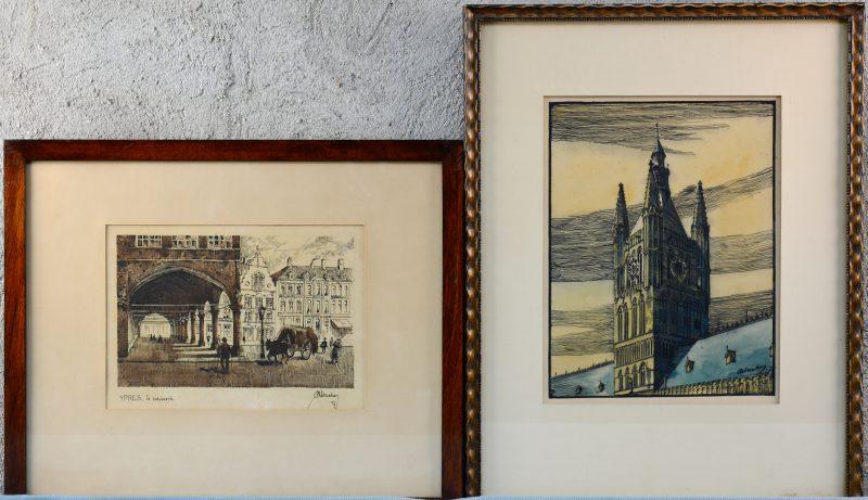 """Ieper: """"Het Nieuwwerk"""" en """"De toren van de Lakenhallen"""". Chinese inkt en aquarel op papier. Gesigneerd en gedateerd '17"""