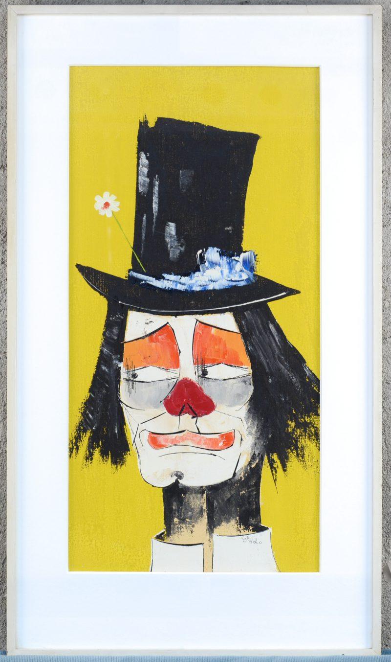 """""""Clown"""". Olieverf op paneel. Gesigneerd."""