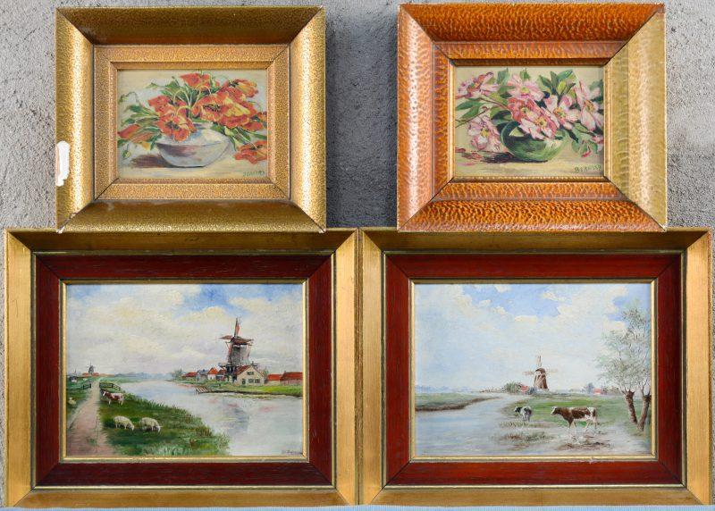 """Twee paar olieverfschilderijtjes op paneel, waarbij twee met Hollandse rivierlandschappen en twee bloemenstillevens, resp. gesigneerd """"De Clercq"""" & """"Bernard""""."""