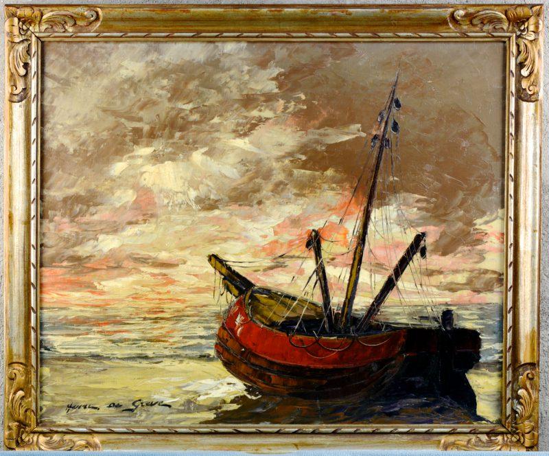 """""""Vissersboot op het strand"""". Olieverf op doek. Gesigneerd. Belgische school."""