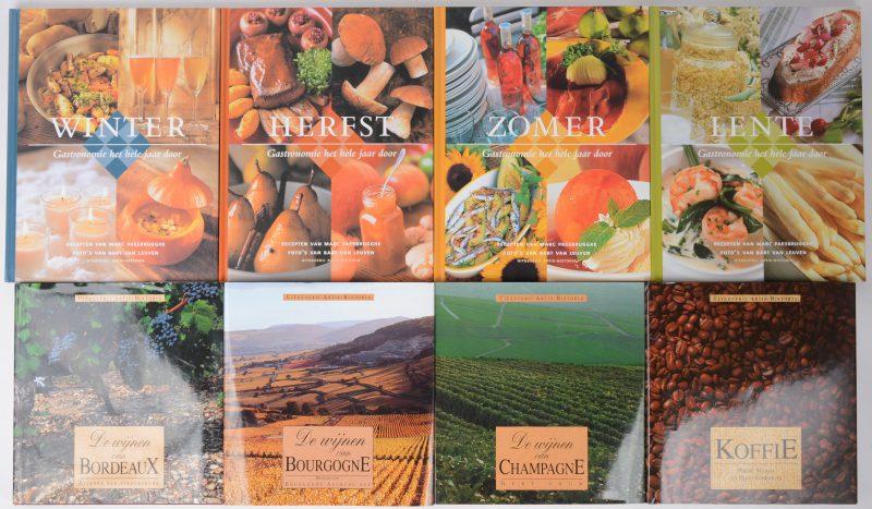 """acht boeken uit twee reeksen: """"Gastronomie het hele jaar door"""" (Lente, zomer, herfst & winter, """"De wijnen van Bordeaux"""", """"De wijnen van Bourgonië"""", """"De wijnen van Champagne"""" & """"Koffie""""."""