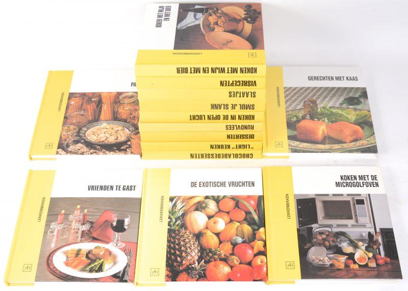 """Veertien boeken uit de reeks """"Lekkerbekken"""": Koken met wijn en bier, Vrienden te gast, Koken met de microgolfoven, Pasta, Gerechten met kaas, Chocoladedesserten, """"Light"""" keuken, Desserten, De exotische vruchten, rundvlees, koken in de open lucht, smul je slank, slaatjes, visrecepten. Uitgeverij Artis-Historia. Jaren '90."""