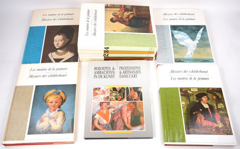 """Zeven chromo-albums uit de reeks """"Meesters der schilderkunst"""". Uitgegeven  door Soubry. We voegen er een album """"Beroepen en ambachten in de kunst"""" aan toe."""