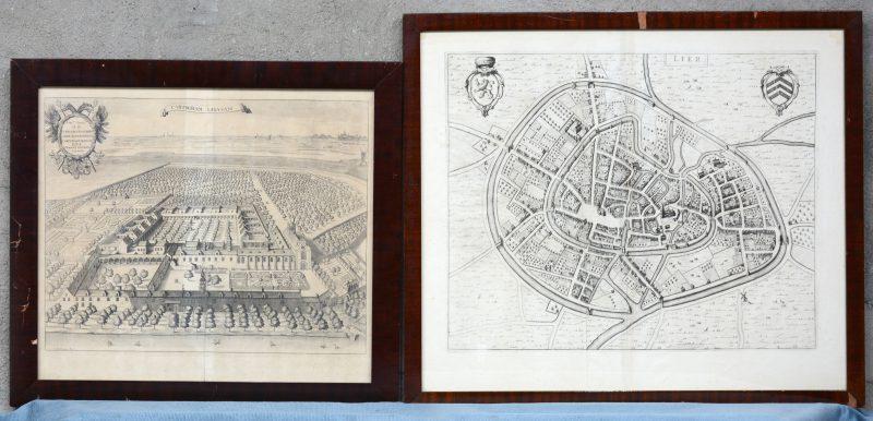 """Twee oude gravures:- """"Liers Karthuisersklooster"""". R. blokhuysen. - """"Plattegrond van Lier""""."""