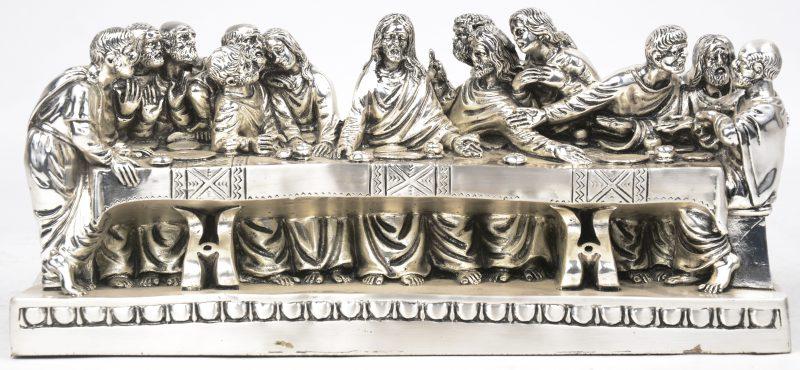 """""""Het laatste avondmaal"""". Een groep van verzilverd metaal naar de schildering ven Da Vinci. Italiaans werk."""
