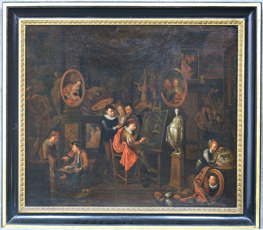 """""""Kunstenaar met entourage in zijn atelier"""". Olieverf op doek. Antwerpse school, omstreeks 1700. Herdoekt."""