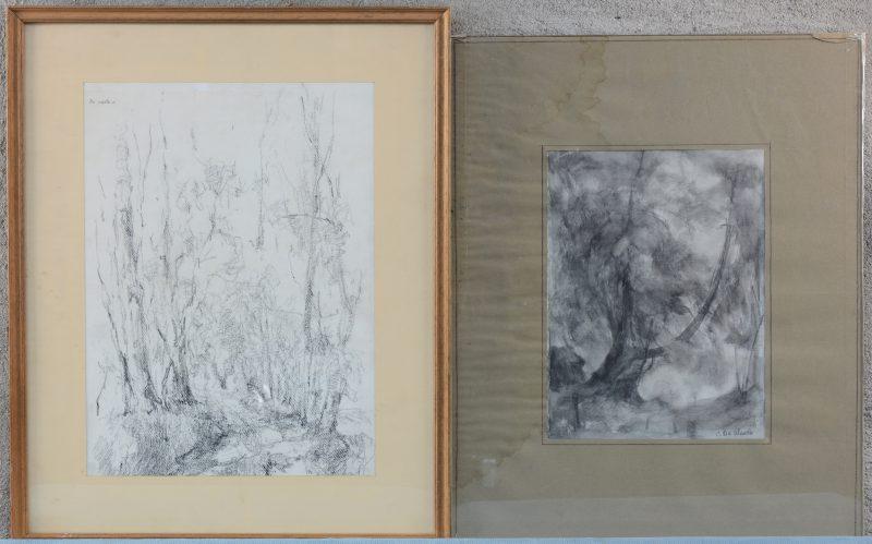 """""""Bomen"""". Paar houtskooltekeningen op papier. Gesigneerd. Ingelijst."""