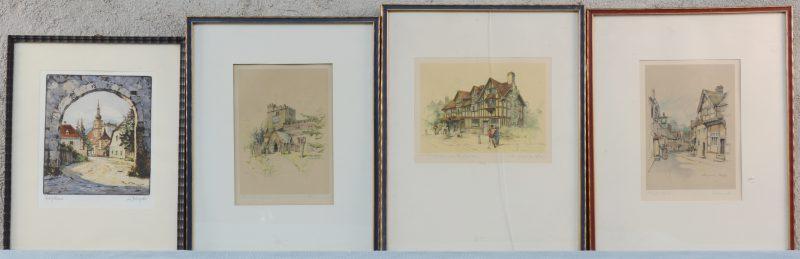 Een lot grafisch werk met drie kleurenlitho's met Engelse zichten en ééntje met een Duits stadszicht.