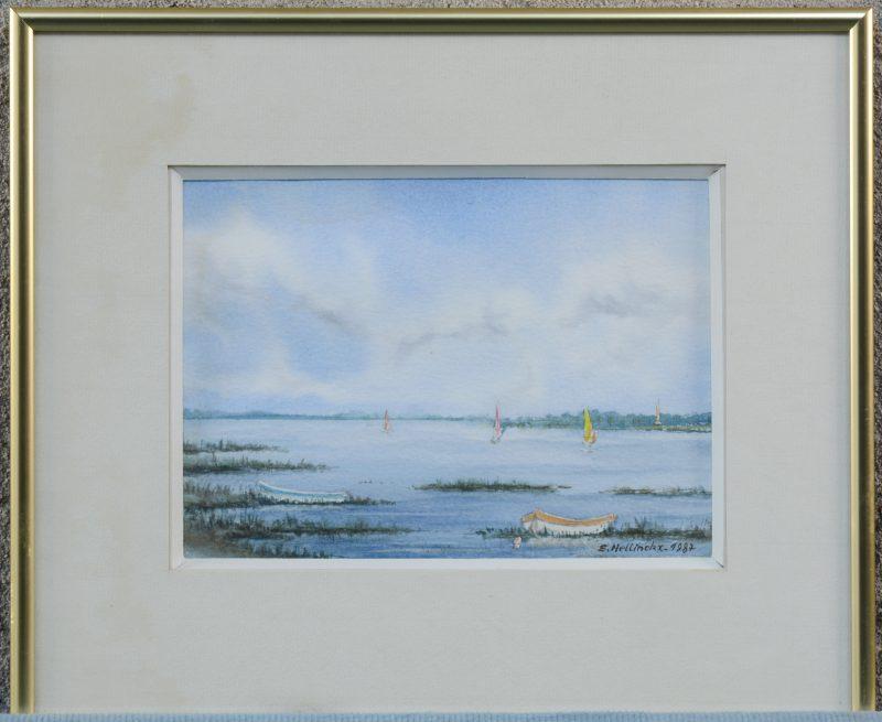 """""""Zeilboten op het meer"""". Aquarel op papier. Gesigneerd en gedateerd 1987."""
