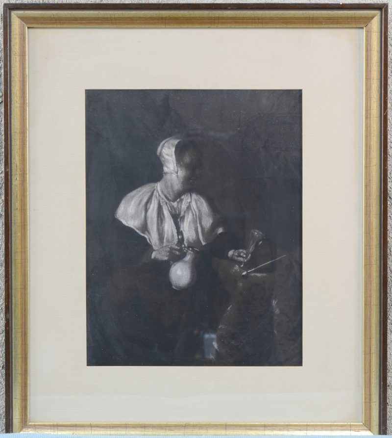 """Boerin"". Krijttekening. Gesigneerd en gedateerd 1835."