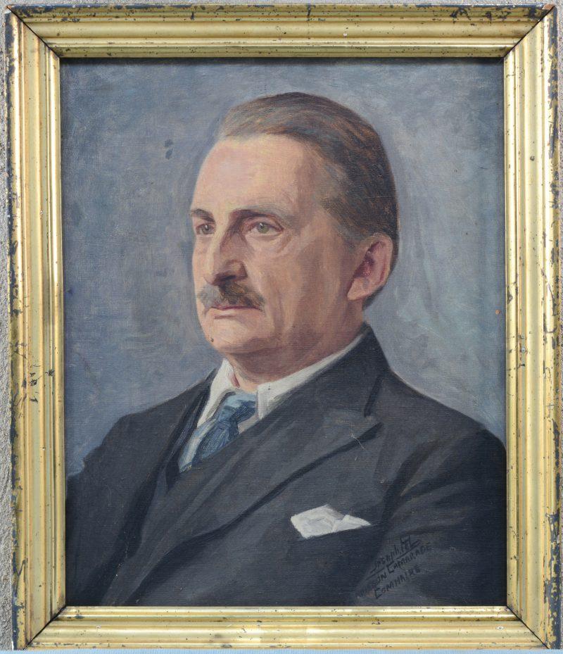 """""""Portret van Joseph Tel"""". Olieverf op gemaroufleerd doek. Gesigneerd en boodschap onderaan rechts. """"Joseph Tel. A mon bon camarade""""."""