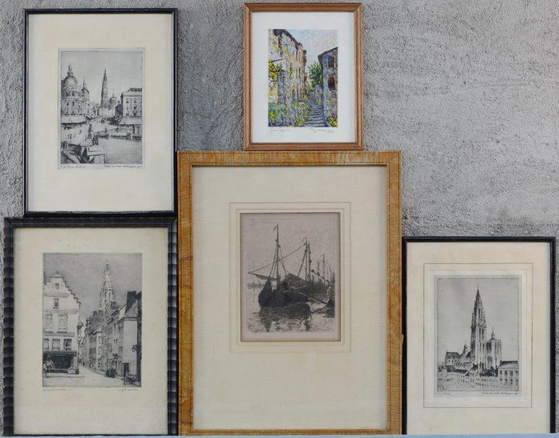 """Vijf lijstjes, waarvan een """"épreuve d'artiste"""" door Julien Severin."""