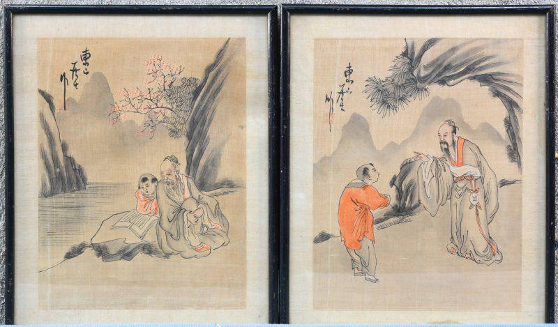 Twee Japanse prenten. Aquarel op rijstpapier.