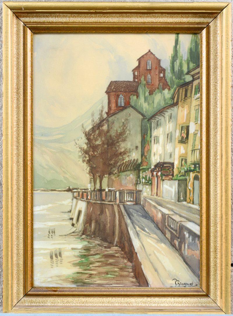 """""""Huizen aan de rand van een bergmeer"""". Aquarel op papier. Gesigneerd."""