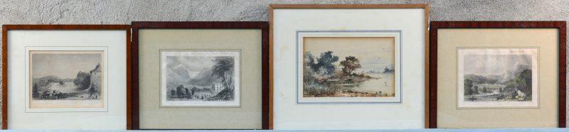 Een lot bestaande uit drie prenten en een aquarel.