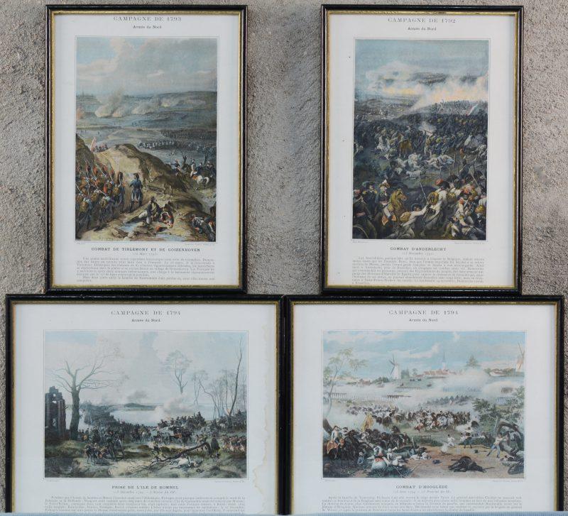 """""""Prise de l'ille de Bommel"""", """" Combat d'Hooglède"""", """"Combat de Tirlemont et de Goizenhoven"""" & """"Combat d'Anderlecht"""". Vier prenten met betrekking tot Franse veldslagen onder Napoleon."""