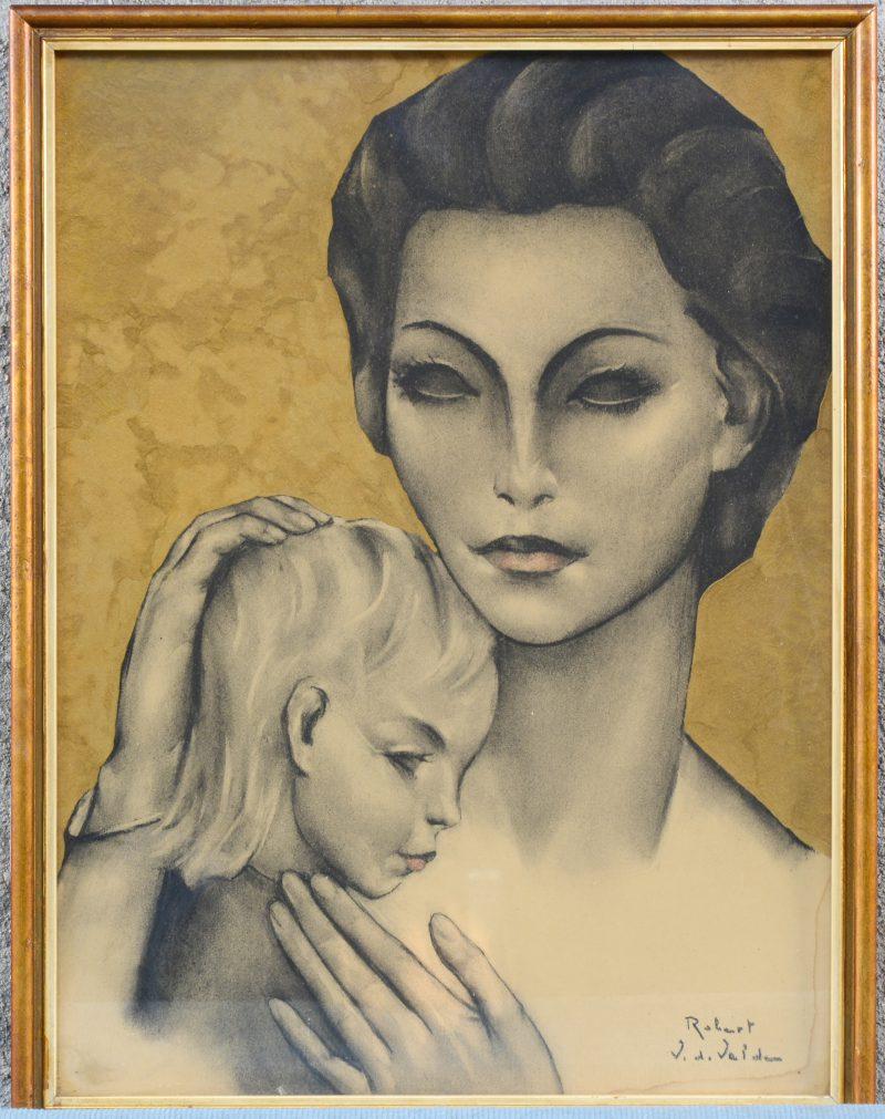 """Van de Velde Robert - """"Moeder en kind"""". Houtskooltekening (?) met vergulde achtergrond. Gesigneerd."""
