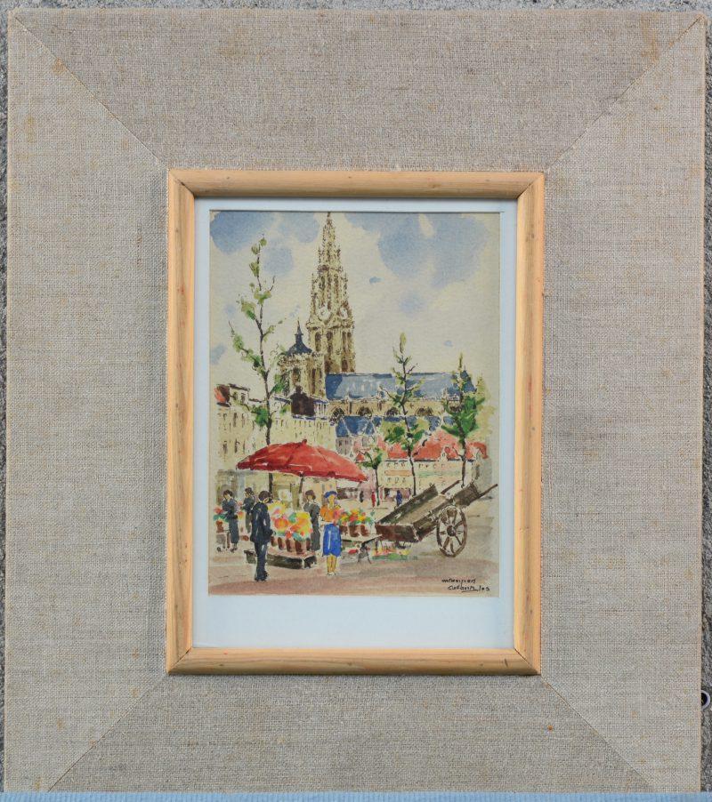 """""""Groenplaats te Antwerpen"""". Aquarel op papier. Gesigneerd."""