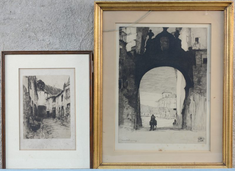 """Twee etsen:- """"Oude straat"""". Toegeschreven aan Albert Baertsoen.- """"Stadspoort van een Spaans dorp"""". Gesigneerd binnen de plaat Charles Swyncop"""