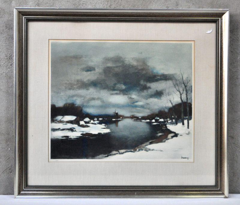 """""""Winters rivierlandschap"""". Een lithografie naar Saverys. Genummerd 113/350 buiten de plaat. In de plaat gesigneerd."""