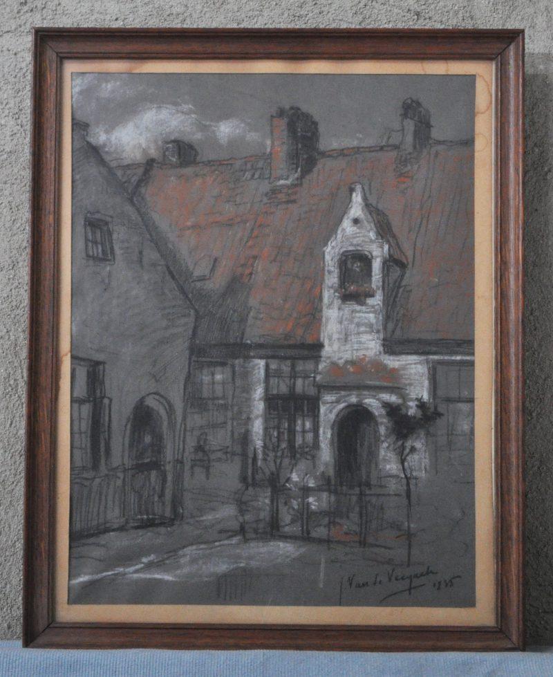 """""""Zicht op het begijnhof"""". Pastel op papier. gesigneerd en gedateerd 1945."""