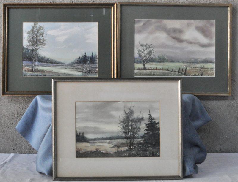 Drie moeraslandschappen. Aquarel op papier. Gesigneerd en gedateerd '79 & '80.