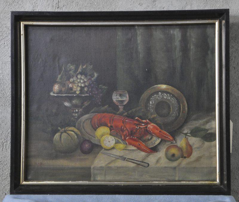 """""""Stilleven met kreeft"""". Olieverf op doek. Gesigneerd en gedateerd 1956."""