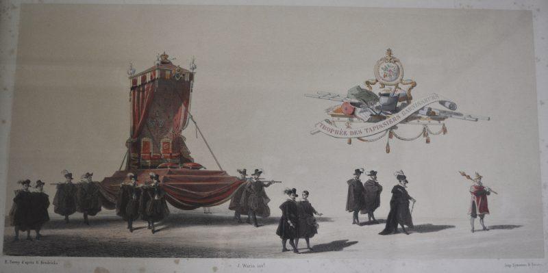 Een serie van zeven kleurengravures met voorstelling van praalwagens.