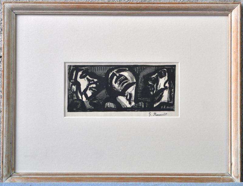 """""""Uit de reeks Père Ubu"""". Houtgravure. Draagt een handtekening: Rouault."""
