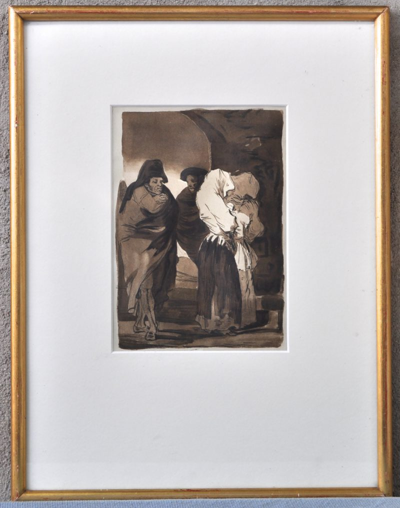 Personages naar Goya. Aquatint.