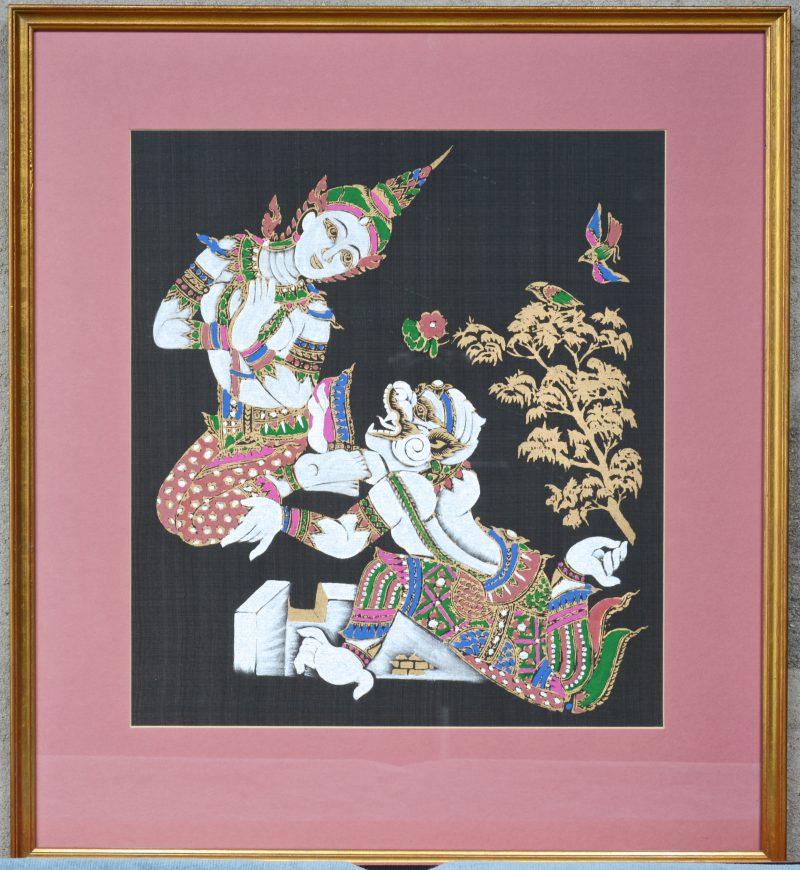 Een Boeddhistisch tafereel op zijde.