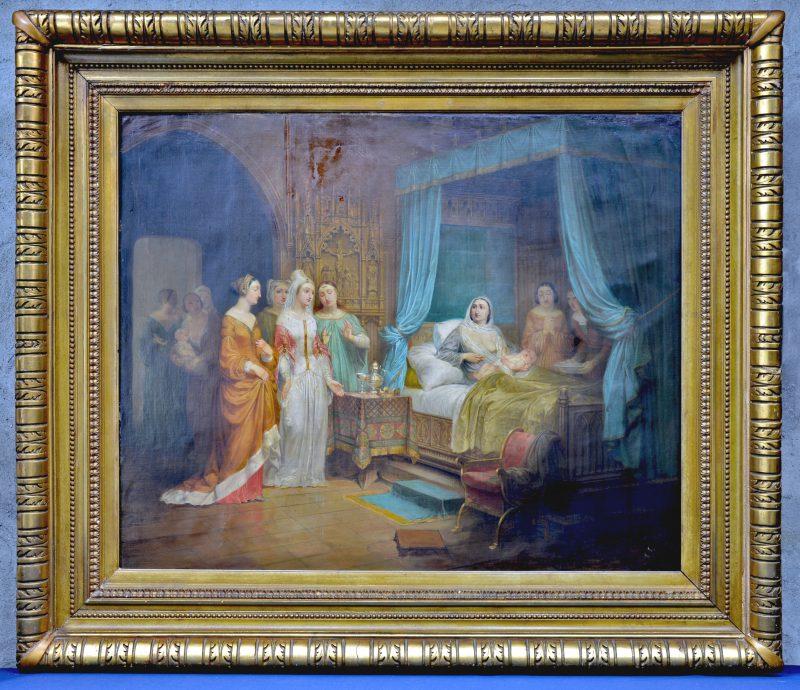 """""""De pasgeborene"""". Classicistisch schilderij met talrijke personages. Olieverf op doek. Gesigneerd rechtsonder."""