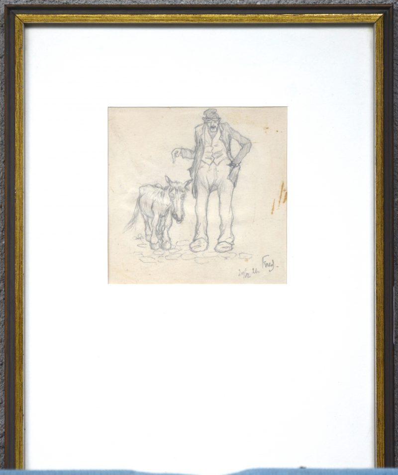 """""""Man met ezel"""". Een potloodstudie op papier. Gesigneerd en gedateerd 20/12/26."""