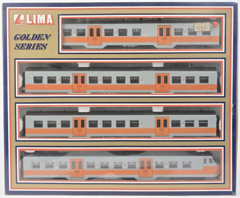 Een vierdelig treinstel type MS75 van de Belgische spoorwegen in orspronkelijke uitvoering in grijs en oranje. Spoortype HO. In originele doos.