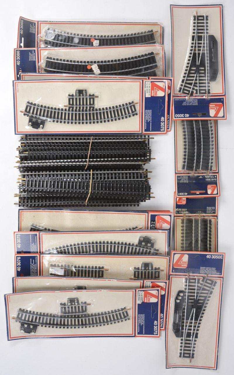 Een gevarieerd lot rails, type HO, bestaande uit twee opzetrails, manuele en elektrische wissels, kruisingenkorte en lange rails, recht en gebogen en enkele rails met elektrische aankoppelingen. Grotendeels in ongeopende verpakkingen.