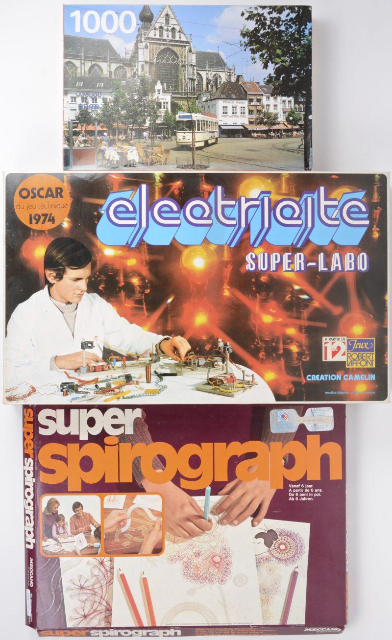 """Een lot speeldozen uit de jaren '70:- """"Electricité Super-labo"""". Een experimentatieset.- Meccano 'Super Spirograph"""".- Puzzel 1000 stukjes 'Groenplaats'."""
