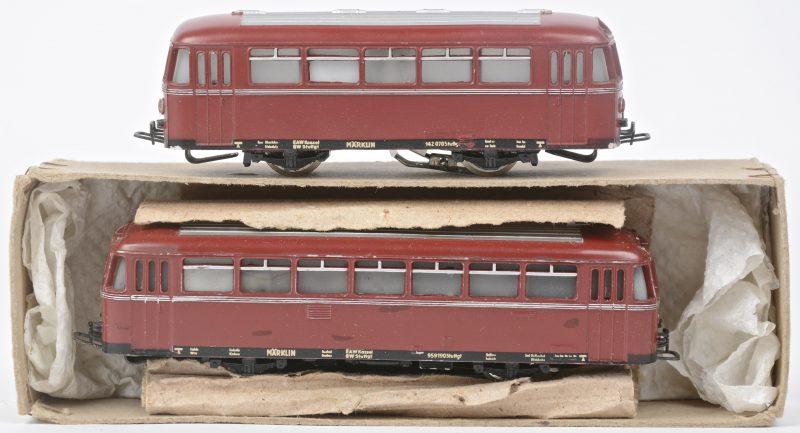 Een Duitse railbus met bijwagen op schaal HO. De eerste in originele doos.