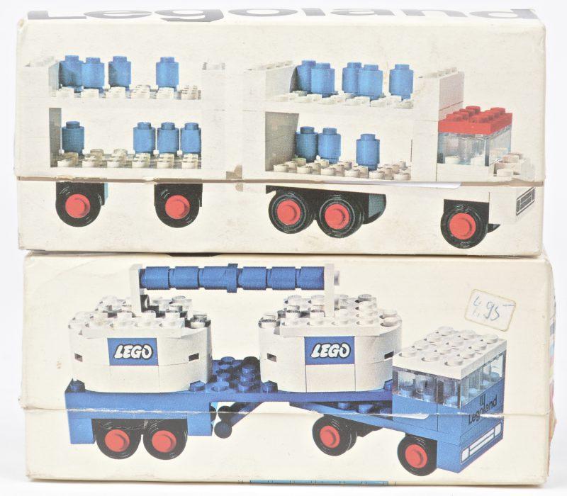 """""""Tankwagen"""" & """"Vrachtwagen met gasflessen"""". Twee bouwkits in originele doosjes. Met boekjes."""