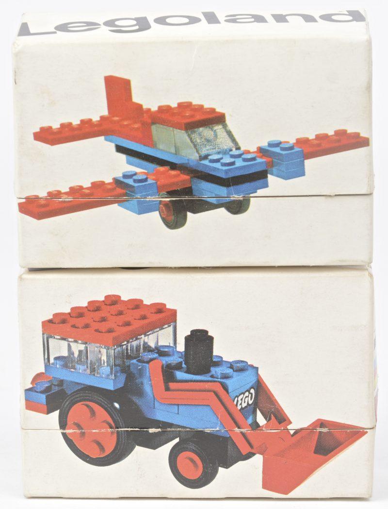 """""""Tractor"""" & """"Vliegtuigje"""". Twee bouwkits in originele doosjes. Met boekjes."""