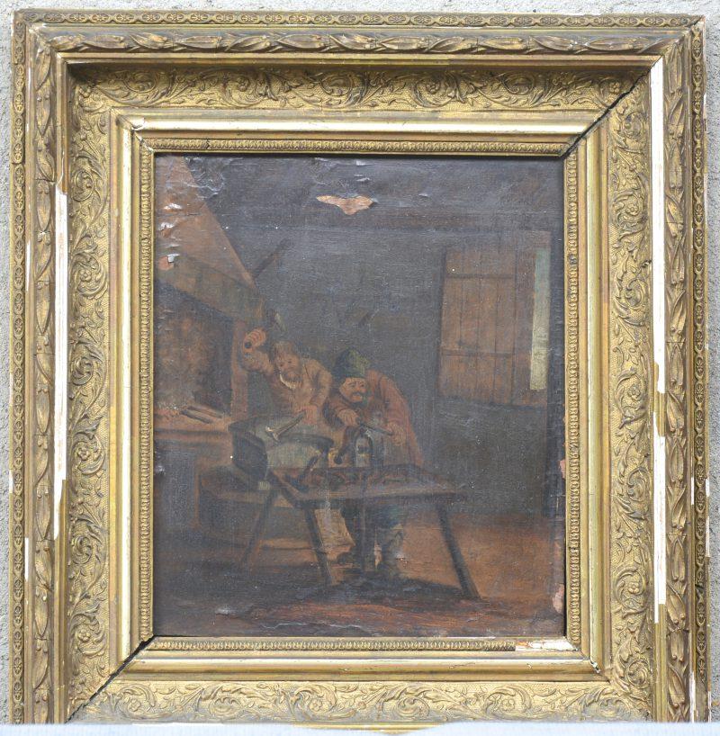 """""""De smidse"""". Olieverf op paneel. Vlaamse school, XIXe eeuw. Beschadiging."""