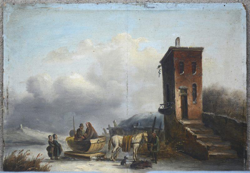 """""""Winters tafereel met paardenslee"""". Olieverf op paneel. Hollandse school, XIXe eeuw."""