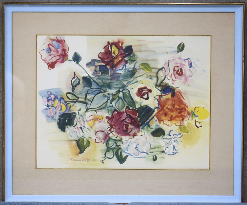 """""""Compositie met rozen"""". Een lithografie naar een werk van Raoul Dufy."""