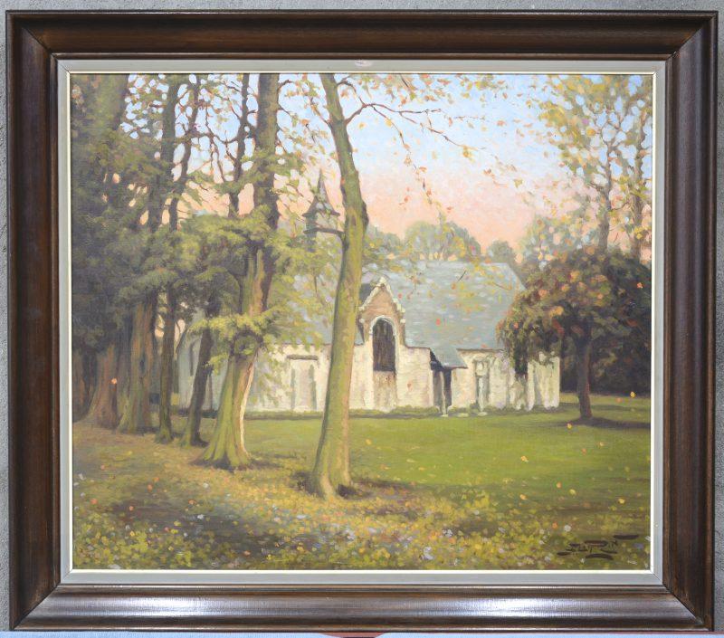 """Kapel van het oude kerkhof te Soignies"". Olieverf op doek. Onduidelijk gesigneerd."